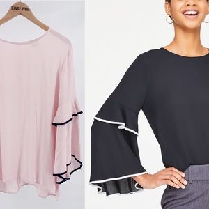 LOFT Navy Tipped Bell Sleeve Loose Blouse Top